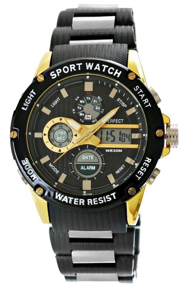 original Zegarek Meski Perfect A8031 2 Dual Time Fluorescencja 274949 0c20274c9e34